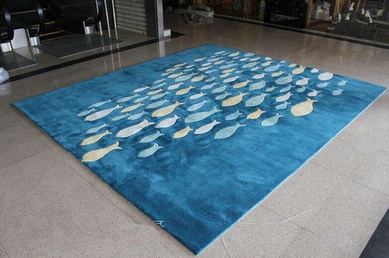 Tapis de laine baleine enfants tapis fait à la main personnalisé poisson treillis tapis salon