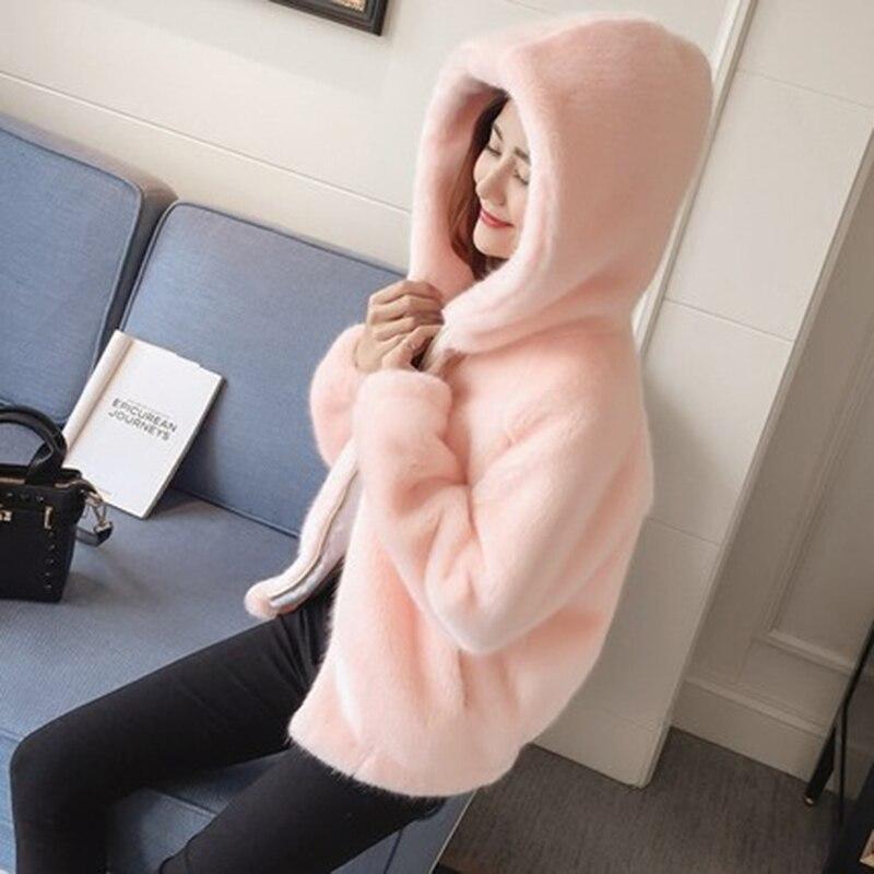Lungh Della Modo White Giacca Più Caldi Di Cappuccio Inverno Del Vestiti A pink Faux Delle Il Con Cappotto Maniche Donne Formato Rivestimento grey Pelliccia qCfRxtCnw