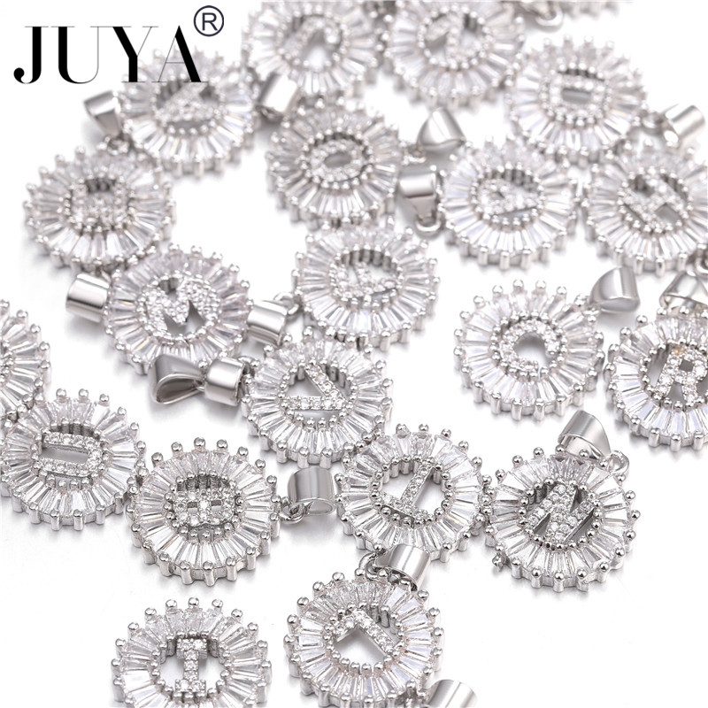 JUYA Silver Color Initial fashion CZ Necklace Personalized Letter necklace pendant for women Accessories Girlfriend Gift in Pendant Necklaces from Jewelry Accessories