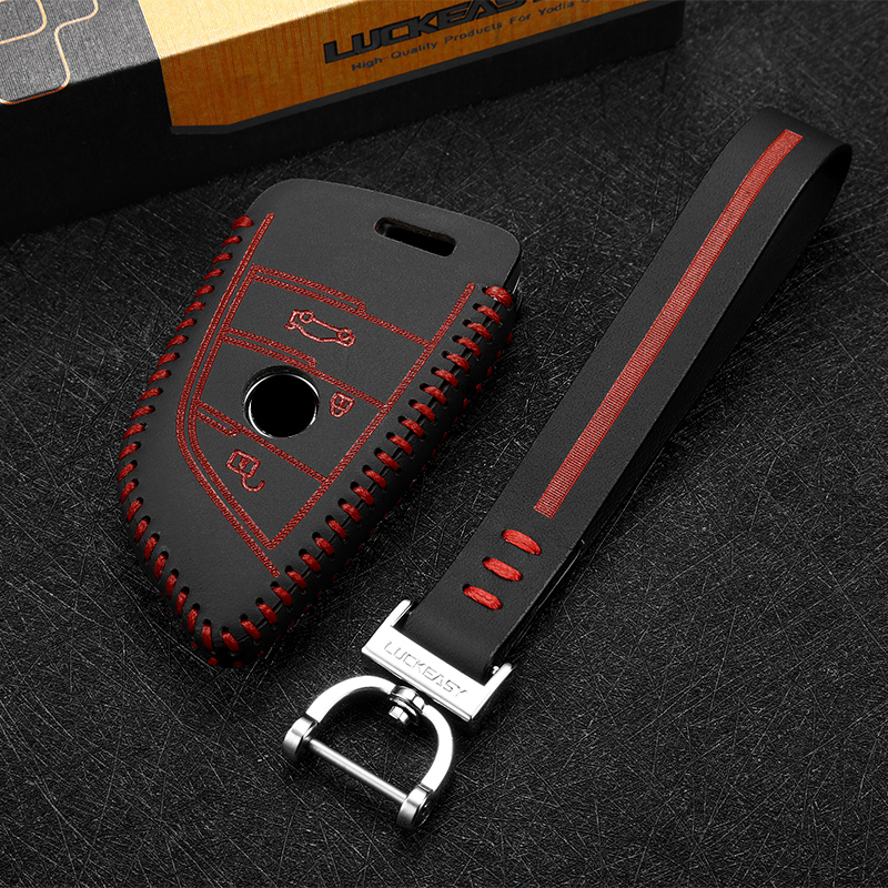 luckeasy key case 3 button for BMW X1 sDrive 2016 X5 X6 2017 xDrive 35i 2018 car key holder leather cover key2p