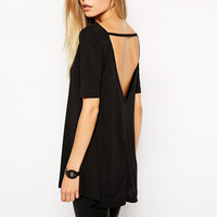 Camisetas Femininas 2016 Summer Fashion Street Style Sexy Open Back Hollow Out Tshirt Loose Short Sleeve