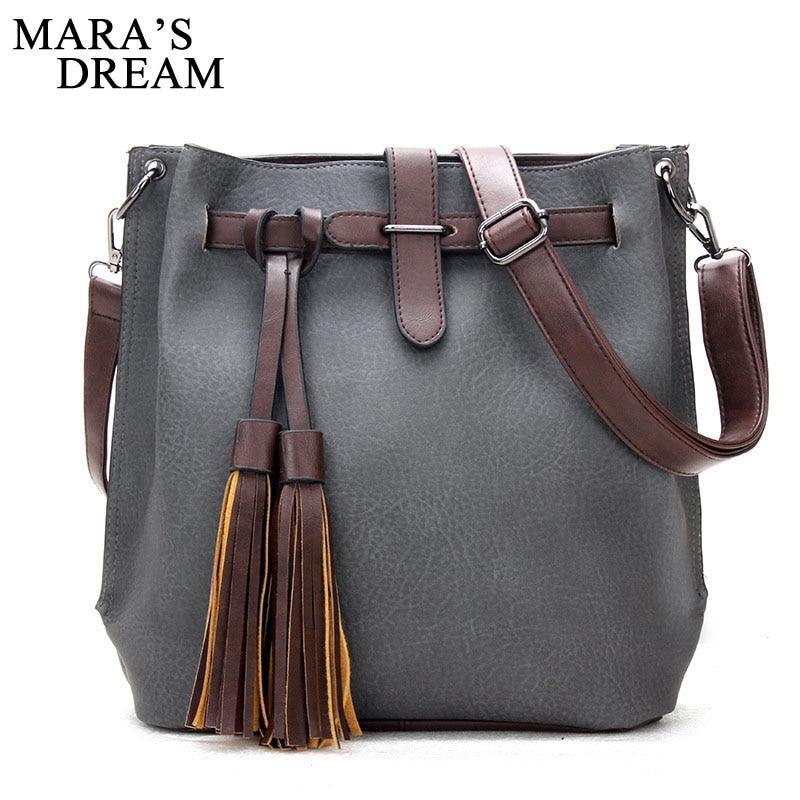 цены на Mara's Dream 2018 Vintage PU Leather Women Bag New Tassel Messenger Bag Solid Tote Bags Women Large Capacity Shoulder Bag Bolsas в интернет-магазинах