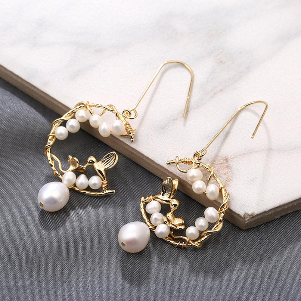 SEVEN GIRL 2019 Handmade Earring Natural Freshwater Pearl Earrings Round flower Earrings For Women Wedding Party Fine Jewelry