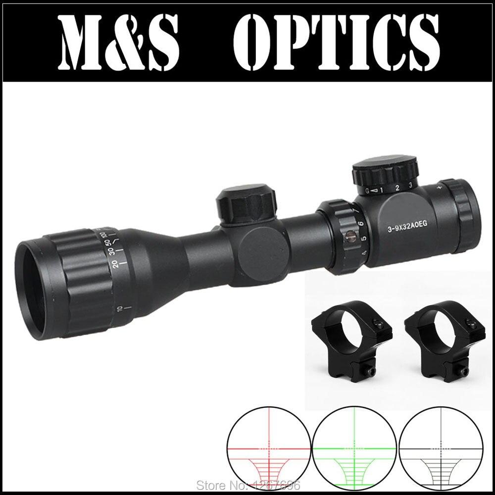 ФОТО 3-9X32 AOIRG Ren&Green Dot Sight Hunting riflescope With Sun ShadeAirgun Air Rif Optical Sight Tube Hunting Equipment for Hunter
