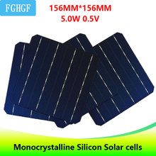 100PCS Monocrystalline Silicon Solar Cells 5.0W 0.5V  for home DIY use Solar charger солнечная батарея painel solar silicon nanowires for hybrid solar cells
