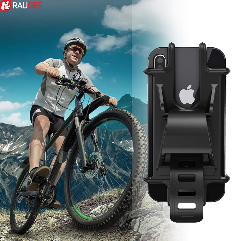 Raugee Phone Holder Bike Silicone Soft Bicycle Handlebar Clip Stand GPS Mount Bracket For IPhone Samsung XS XR Mountain Motor