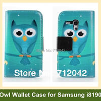 Fashion Owl Pattern Wallet Case For Samsung Galaxy S3 Mini I8190 Flip Cover Case For Galaxy