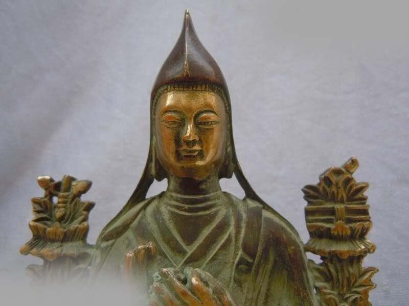 DS Tibet Copper Bronze Gild Carved Buddhism Tsongkhapa Buddha Sculpture Statue