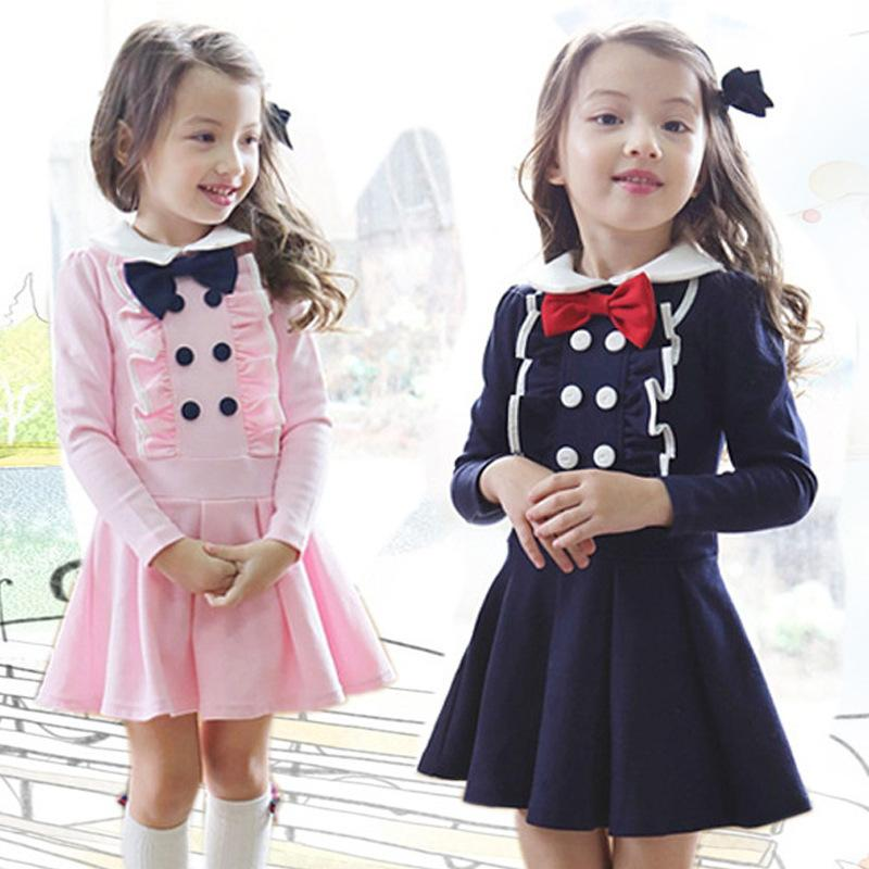 Long Sleeve Kids Dresses for Girls 2018 New Spring Girls Clothes Preppy Style Children Clothing 3 4 5 6 7 8 Years Girls Dress children s spring and autumn girls bow plaid child children s cotton long sleeved dress baby girl clothes 2 3 4 5 6 7 years