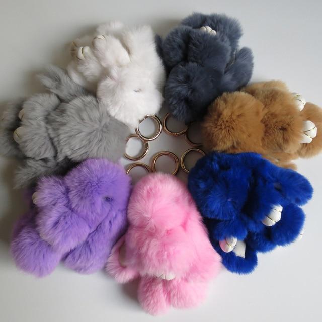 8 color 14cm pompom real rabbit fur Keychain pumpon fluffy bunny rabbit keychain fit handbags bag Cars Trinket K00061