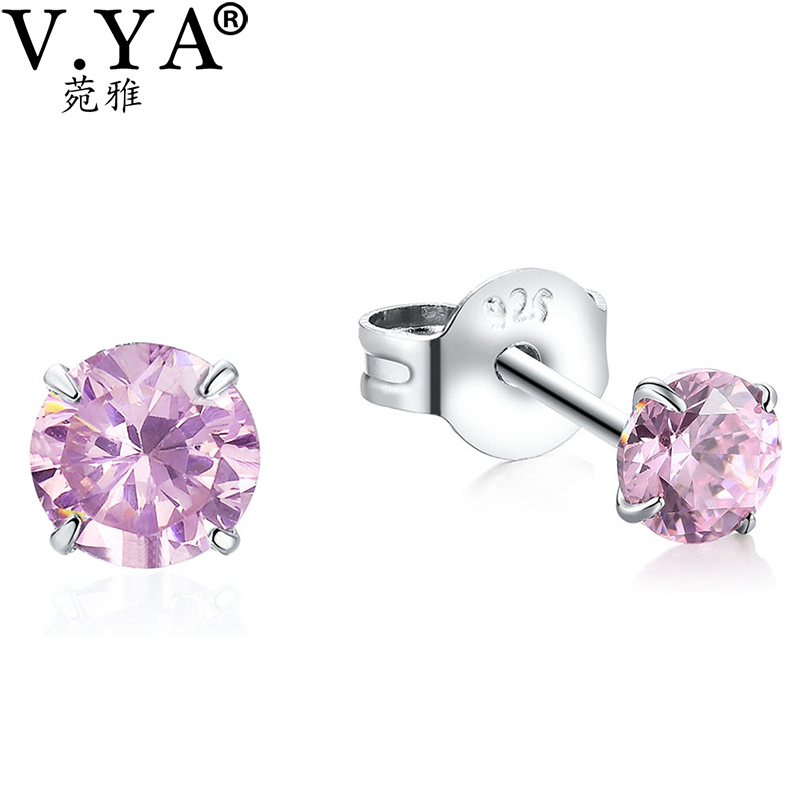 V.YA 925 Silver Little Stud Earrings for Women Pink Purple White Black Rhinestone Earring White Clear Crystal Ear Accessories ...