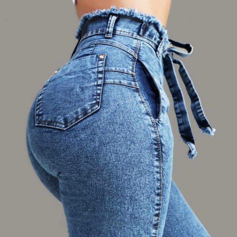 2019 CHOLYL عالية الخصر الجينز للنساء ضئيلة تمتد الدنيم جان Bodycon شرابة حزام ضمادة نحيل رفع الجينز امرأة