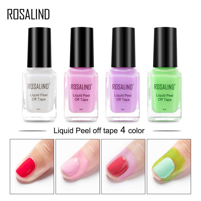 Rosalind Kuku Gel Polandia Primer Peel Off Tape 6 Ml 4 Warna untuk Manikur Kuku Peel Off Base Coat Gel cat Kuku