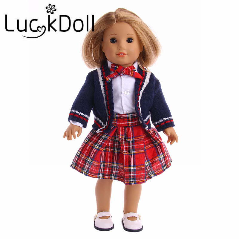 Luckdoll Uniform Suit Knit Cardigan + Short Skirt fit for 43 cm Baby Born Doll or 18 inch American Girl Doll Accessories
