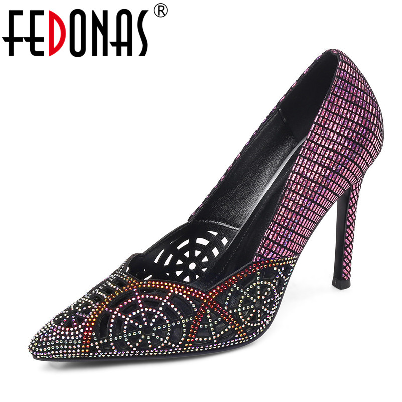 FEDONAS Fashion Sexy Elegant Women Pumps 2019 Spring Summer Classic Design SheepSkin Party Shoes Pointed Toe Shoes Woman FEDONAS Fashion Sexy Elegant Women Pumps 2019 Spring Summer Classic Design SheepSkin Party Shoes Pointed Toe Shoes Woman
