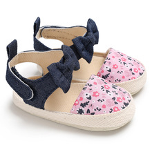 Shoes Summer Baby Sandals Baby-Girls Bow Cute Cotton Flower-Printing Nonslip Soft-Sole