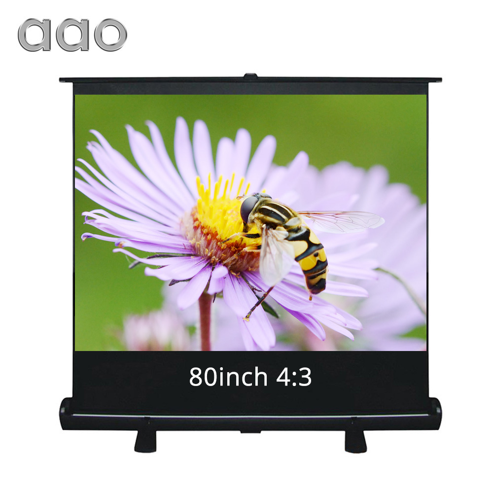 AAO 80inch 4:3 HD Projector Screen Home Cinema Theater Office Floor Up Collapsible Screen Fabric Matte White Projection Screen