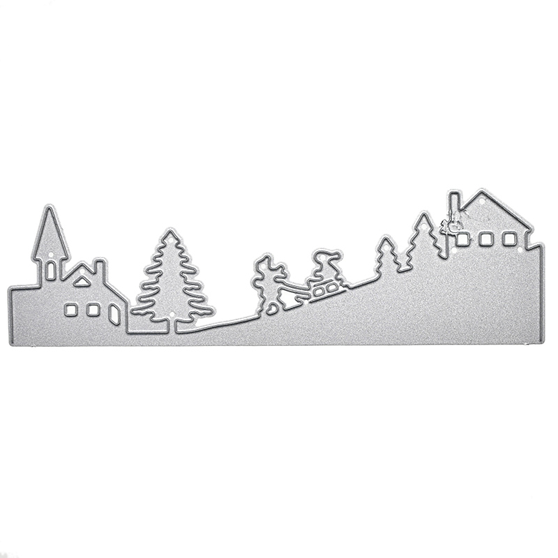 Cute House Trees Metal Cutting Dies For Scrapbooking DIY Decorative Embossing Invitation Card by Hand Cut 3551