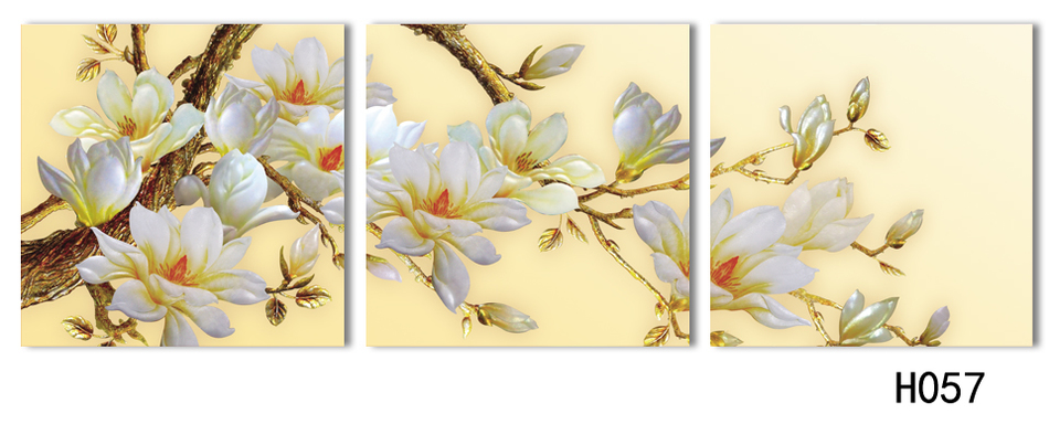 3 Panel Modern 3D white orchid Flower Painting On Canvas Wall Art ...