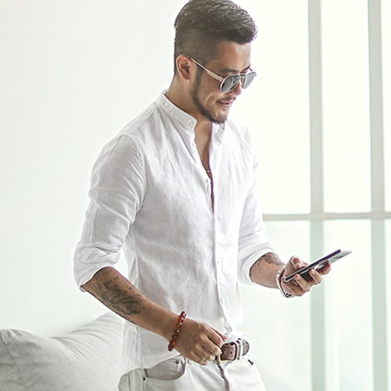new spring & summer Cotton Linen shirt men casual long sleeve men shirt Mandarin Collar camisa social brand clothing S2171 small grill cover