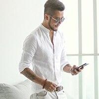 new spring & summer Cotton Linen shirt men casual long sleeve men shirt Mandarin Collar camisa social brand clothing S2171