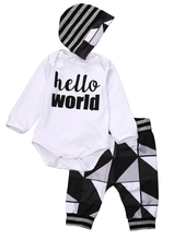 Cute Newborn Baby Boy Girl Autumn Winter Clothes Letter Long Sleeve Romper Tops +Long Pants Hat 3PCS Outfits Set Clothes