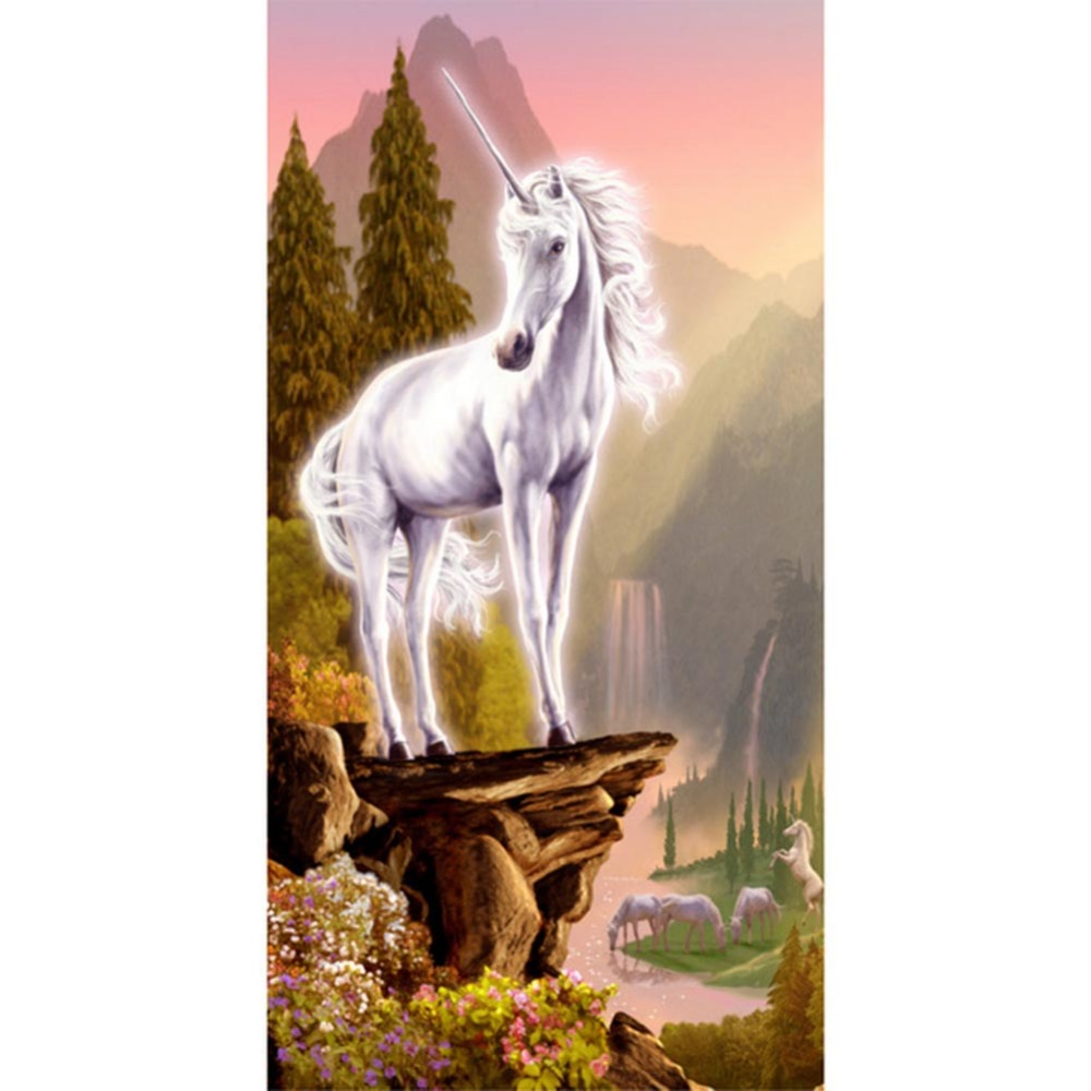 DIY Diamond Painting Unicorn Animal Embroidery Mosaic Cross Stitch 30*55cm Half Drilled Diamond Needlework Painting Home Decorat ...