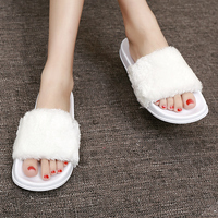 2017 Fur Slides Women Fur Slippers Flip Flops Sandals Plush Warm Home Slippers Autumn Summer Comfortable