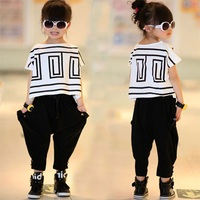 Fashion Batwing Sleeve Girls Clothing Sets 2 Pieces Children Clothes Short Sleeve T Shirt Pants Kids