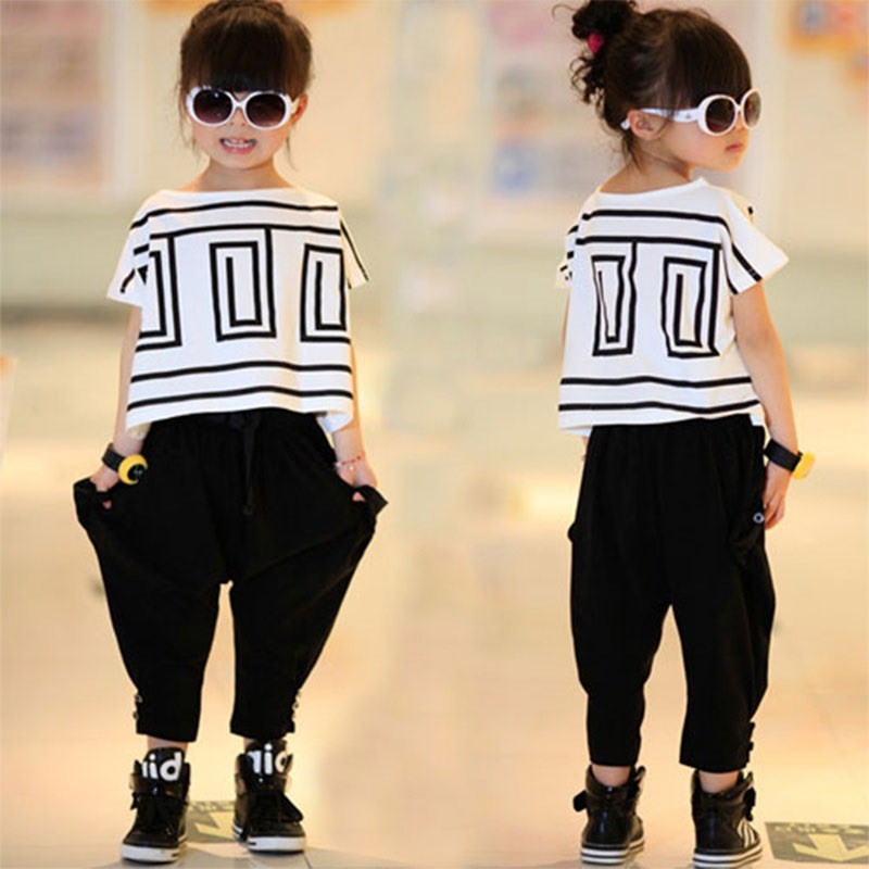 Top quality toddler big girls clothing sets 2 pieces children kids clothes short sleeve white t shirt + pants
