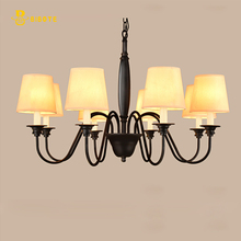 LED Rustic American Style Linen Lampshade With bulbs Free Shipping Chandelier For Bedroom Living Room Foyer Study Hotel