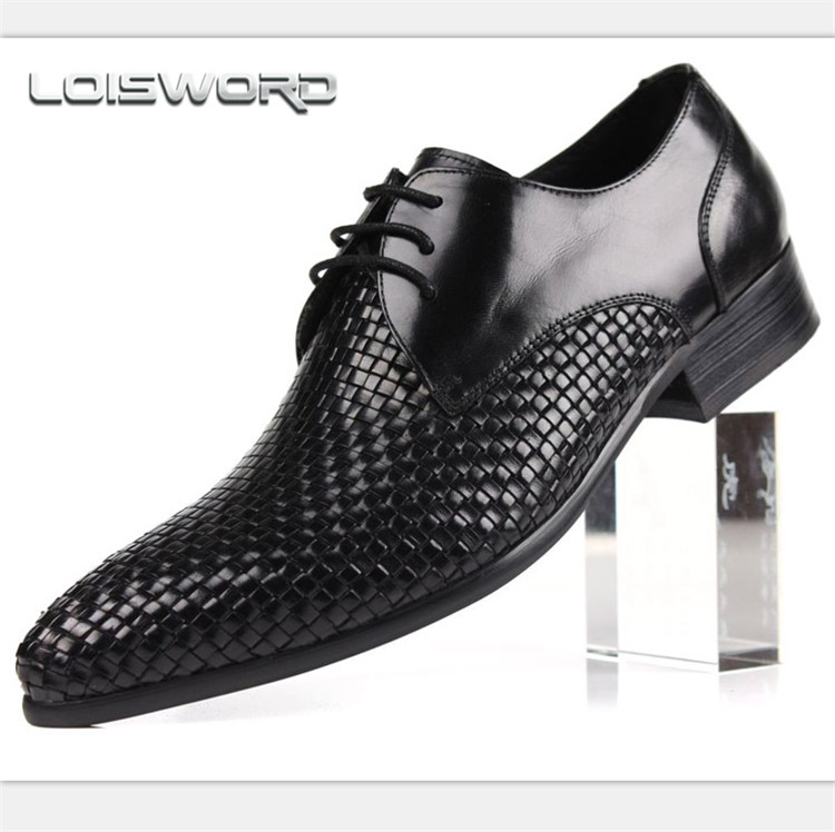 Quality woven design fashion black / brown mens business shoes genuine leather dress shoes mens offce shoes top quality crocodile grain black oxfords mens dress shoes genuine leather business shoes mens formal wedding shoes