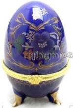 SALE One Big 50*70mm Blue Egg Shape Multi Purpose porcelain Jewelry Gift Porcelain Boxes-box17 WHOLESALE/retail Free shipping