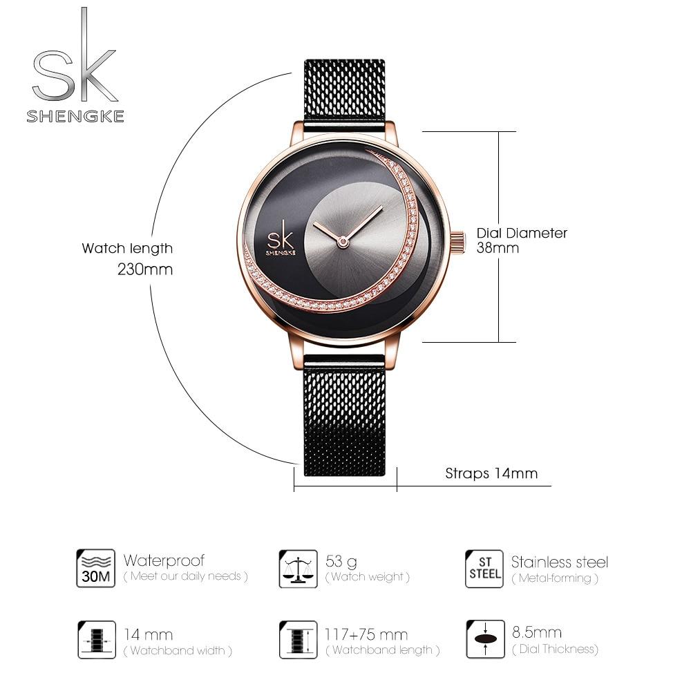 Image 4 - Shengke Crystal Lady Watches Luxury Brand Women Dress Watch Original Design Quartz Wrist Watches Creative Relogio Feminino-in Women's Watches from Watches