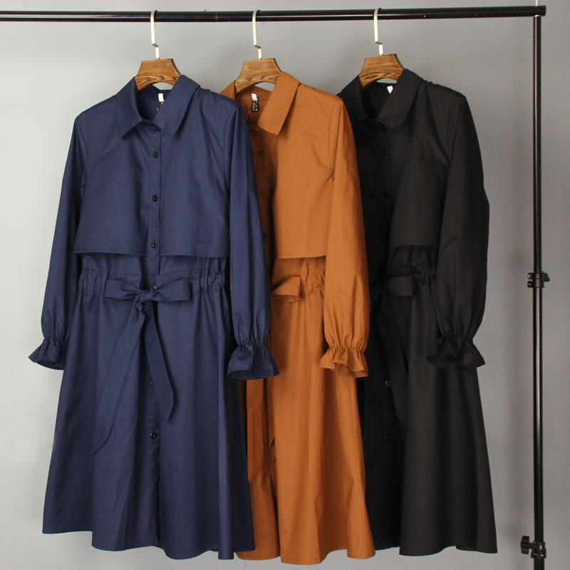 2019 Sale Casaco Feminino   Trench   Coat Top Women Solid Color Outwear Office Coat Chic Design Long   Trench   Knee Length Female