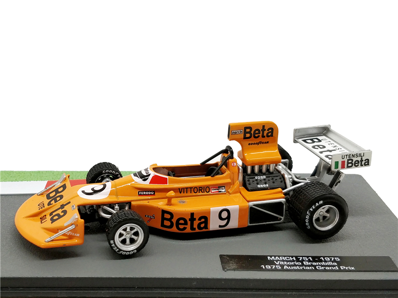 1:43 F1 Racing March 751 1975 Austrian Grand Prix No9 V.Brambilla Formula One Racing Diecast Model Car Miniature Vehicle ixo 1 43 courage oreca lc70 racing mansle michelin racing car model