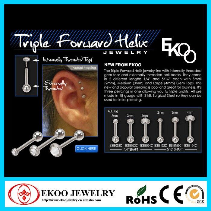 Online Shop Triple Forward Helix Gemmed Helix Piercing Mixed Sizes
