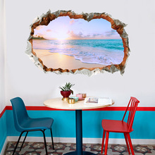 3D Effect Sea Beach Pattern Wall Stickers for Kids Room Bedroom Floor PVC Waterproof Wall Decals Living Room Home Decoration removable waterproof elephants pattern 3d wall stickers for living room bedroom decoration