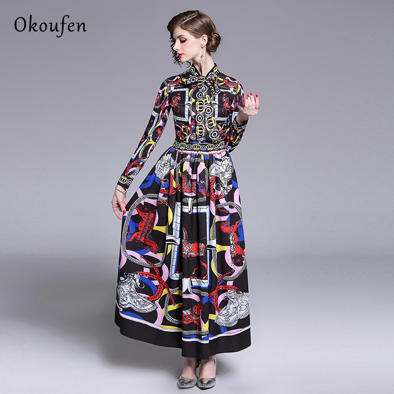 OKOUFEN Spring 2019 Classic Dress Bow Tie Fashion Trend Printing Long Sleeved Catwalk vestido Soft Breathable