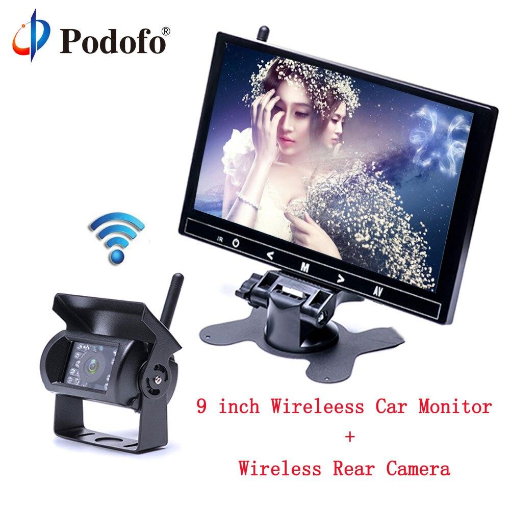 Podofo 9 TFT LCD HD Full Color Car Monitor 2370 ghz Wireless Vehicle Car Backup Camera