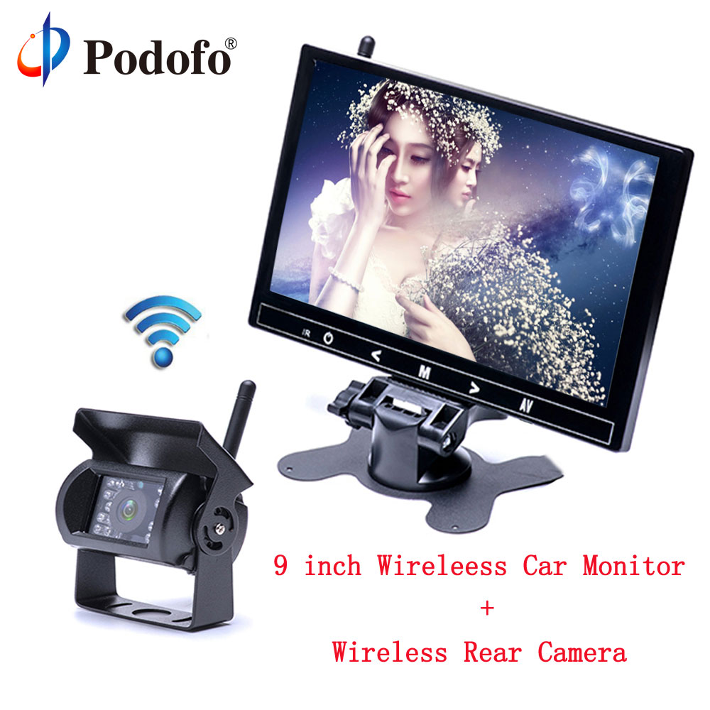 Podofo 9 TFT LCD HD Full Color Car Monitor & 2370 ghz Wireless Vehicle Car Backup Camera 18 IR Night Vision for Truck / RV av 780 10pcs lo ahd dual backup cameras parking assistance night vision waterproof rearview camera monitor for rv truck trailer