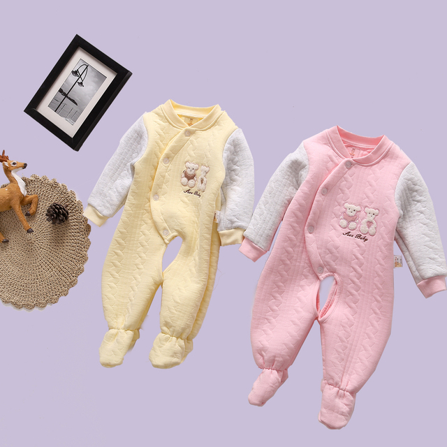 f9e6e0c4b512 Fashion Autumn Winter Baby Toddler Wearing Romper Bear Print ...