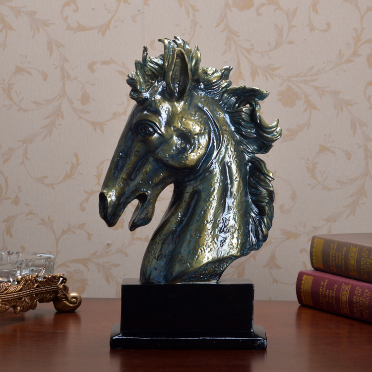 Europe Style Retro fake brozne statues hores head sculptures ecoration resin crafts Mascot Guarding Home horse statues study