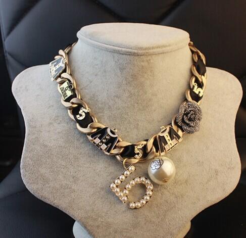 CC pérola camellia 5 gargantilhas maxi big bib chunky colar/2016 coreano 90 s moda demonstrações jóias collier femme/collares mujer