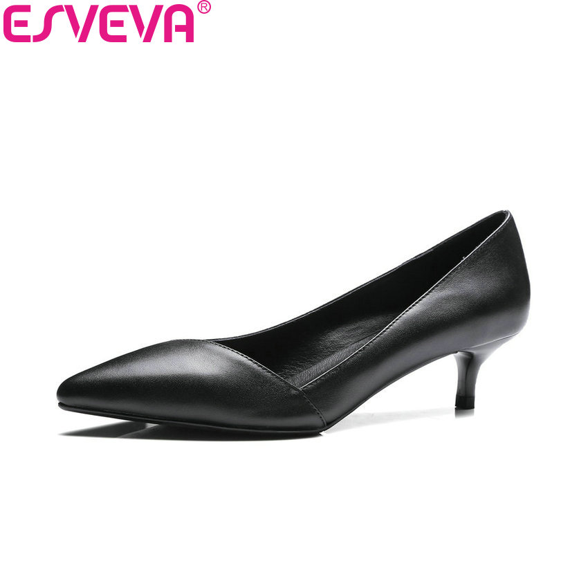 ESVEVA 2018 Women Pumps Thin Med Heels Elegant Cow Leather PU Spring Autumn Pointed Toe Slip on Concise Ladies Shoes Size 34-41 esveva 2018 women pumps elegant butterfly knot pointed toe square high heels pumps suede slip on pumps women shoes size 34 39