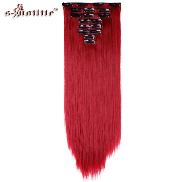 Snoilite 8pcsset 2326 Inch Straight 18 Clips In Hair Extensions