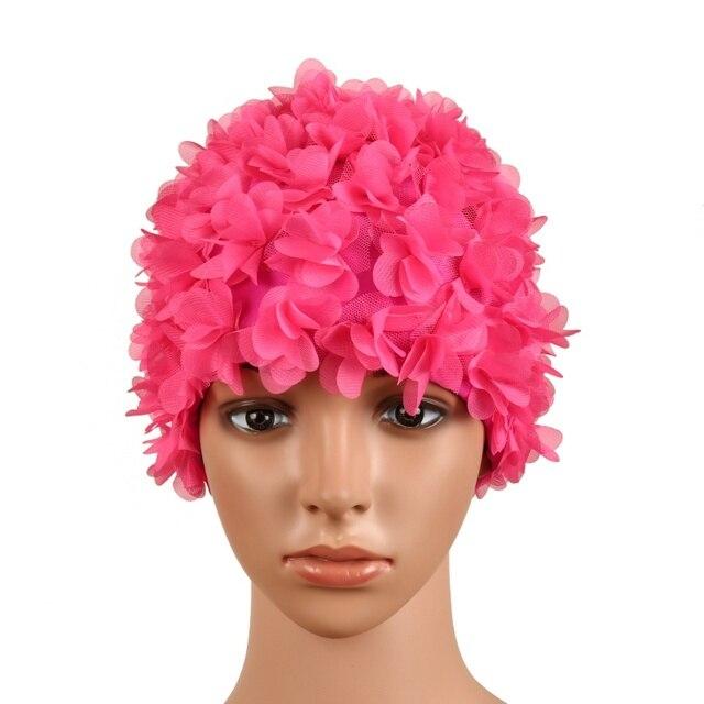 efbe5973c20 Pure Color Three-dimensional Vintage Floral Woman Swim Cap Petal Retro  Swimming Hat Flower Bathing