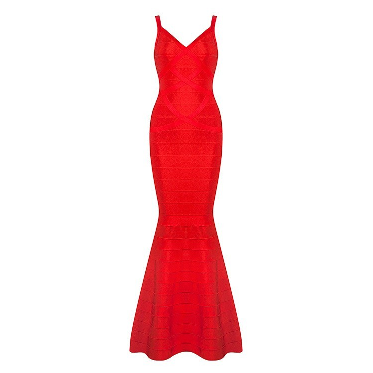 Maxi Soirée Rayonne Sirène Femmes Sexy Bandage Sans Manches Strap Nouveau Dress Noir Étage Longueur Rouge Noir Spaghetti Nu rouge Dos 2016 F1TclKJ