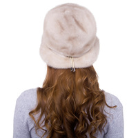 Luxury Handmade Winter Women's Genuine Wholeskin Mink Fur Fedoras Hats Adjustable Belt Lady Warm Caps VF5051