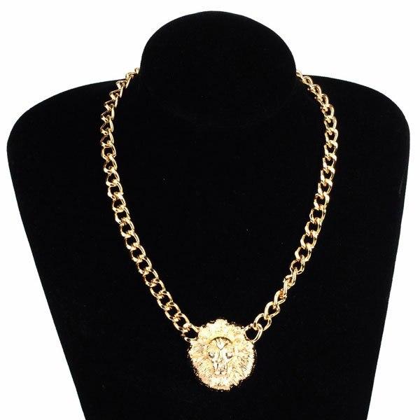 3b2f8918706339 Women/Men Punk Gold Lion Head Pendant Necklace Metal Chunky Lion Head  Coarse Necklace VINTAGE Collarbone Chain Necklace Gift